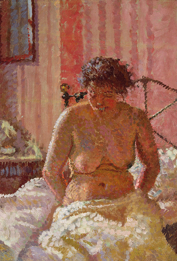 Female; Portrait; Seated; Naked; Bed; Sheet; Bedroom; Bare Breasts; Camden Town Group Painting - Nude In An Interior by Harold Gilman
