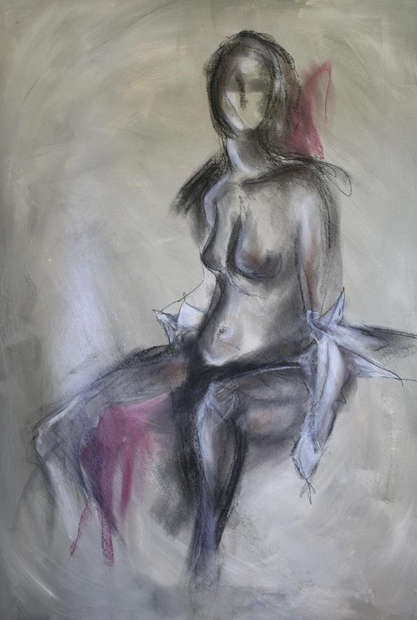 Nude Painting - Nude In Black And Red by Sandra Taylor-Hedges