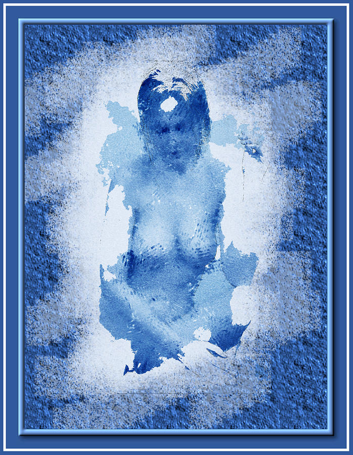 Nudity Painting - Nude In Blue by Mario Carini