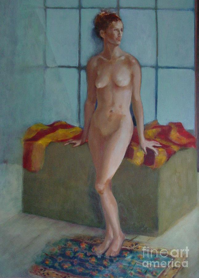 Female Figure Painting - Nude In North Light Copyrighted by Kathleen Hoekstra