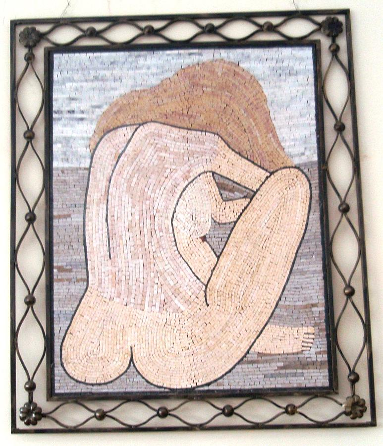 Nude In Stone Mosaic Relief by Petrit Metohu