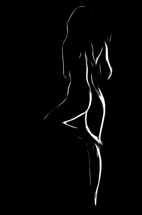 Nude painting black and white woman — pic 15