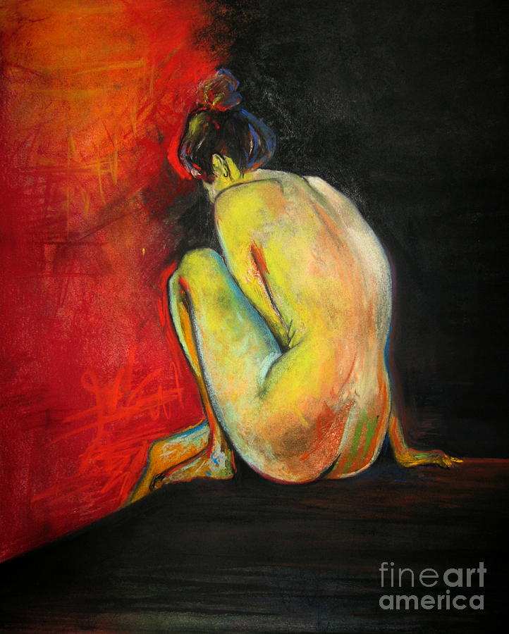 Nude Drawing - Nude- Introspection by Yxia Olivares