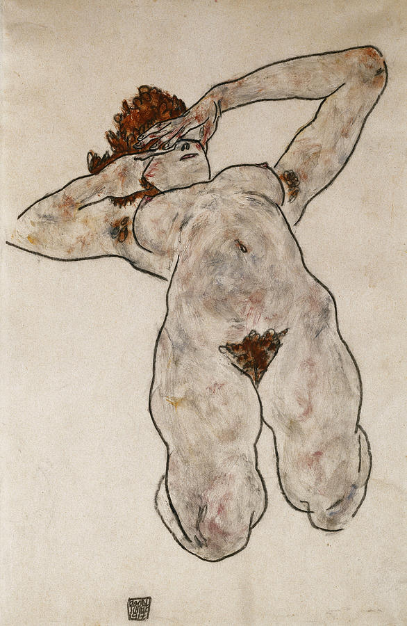 Austrian Art; Austrian Artist; Bended Knee; Caucasian; Caucasian Ethnicity; Charcoal; Compromised; Drawing; Early 20th Century; European Artist; Expressionism; Expressionist; Faceless; Female; Hands On Face; Human; Modern Art; Kneeling; Leaning Back; Lying; Lying Down; Mounted On Paper; Naked; Nude; Obscured Face; Painting; Paper; Posture; Skin; Studio Shot; Studio; Twentieth Century; Unrecognisable; Woman  Painting - Nude Lying Down by Egon Schiele