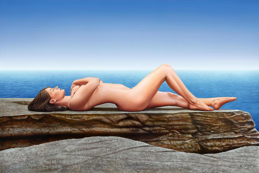 Nude Painting - Nude Lying on the Rocks by Horacio Cardozo