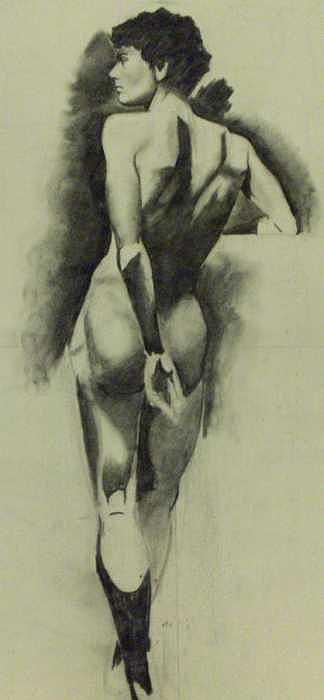 Nude Male Figure Study Drawing by Christian Lee