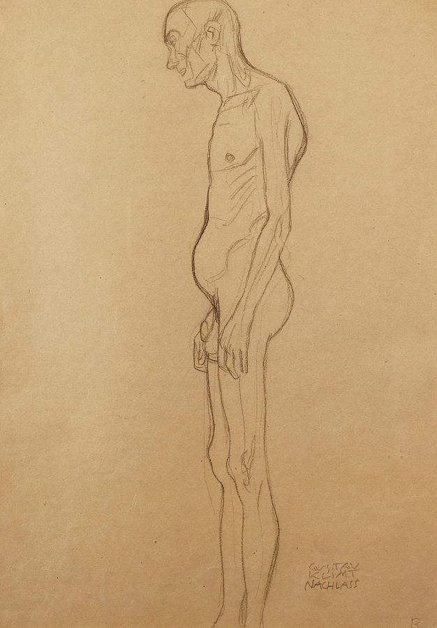 Nude Man Painting by Gustav Klimt