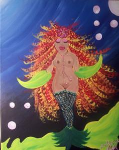 Colorful Painting - Nude Mermaid by Hollie Leffel