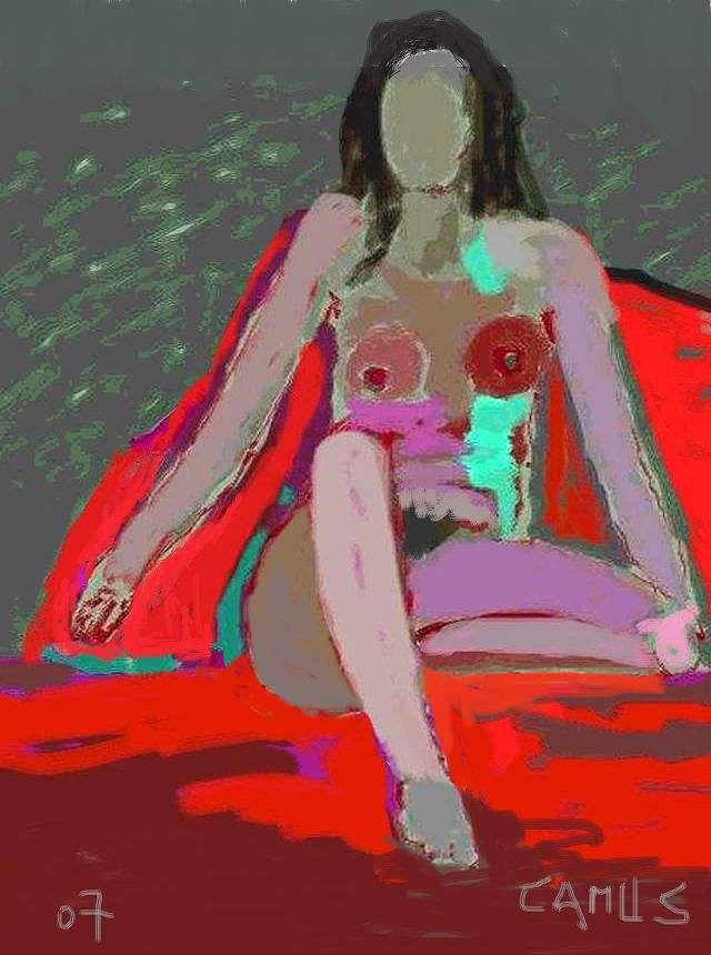 Paint Painting - Nude Model 1 by Carlos Camus