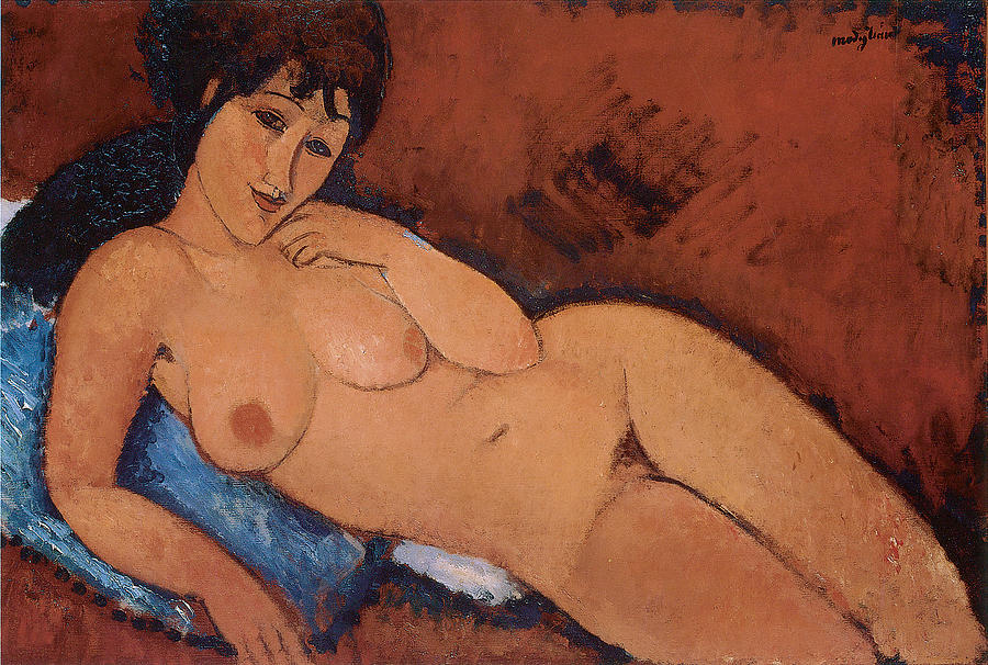 Amedeo Modigliani Painting - Nude On A Blue Cushion by Amedeo Modigliani