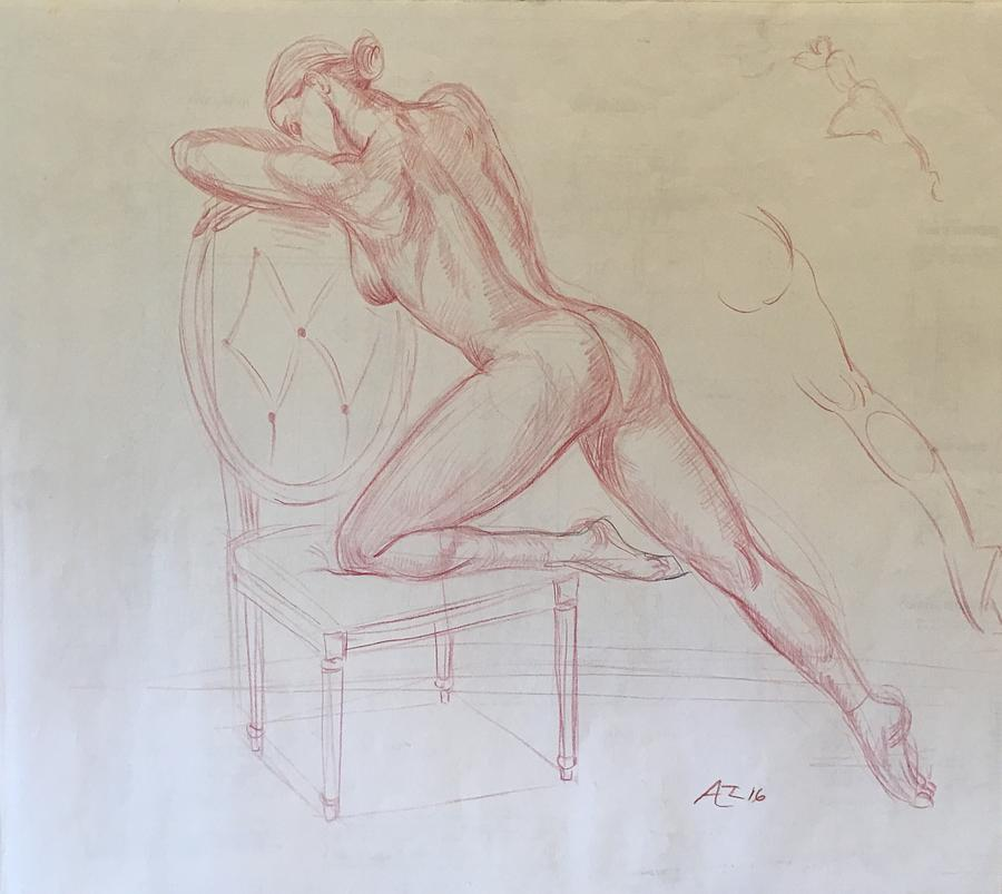 Nude On Chair Drawing by Alejandro Lopez-Tasso