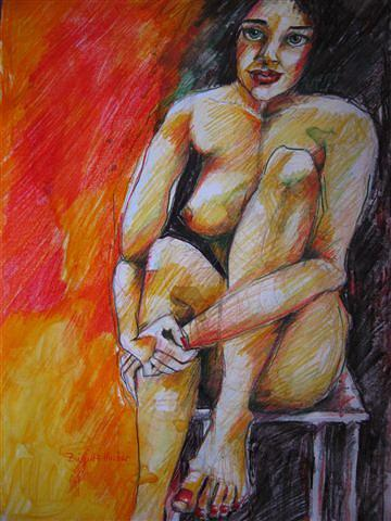 Nude On Chair Drawing by Brigitte Hintner