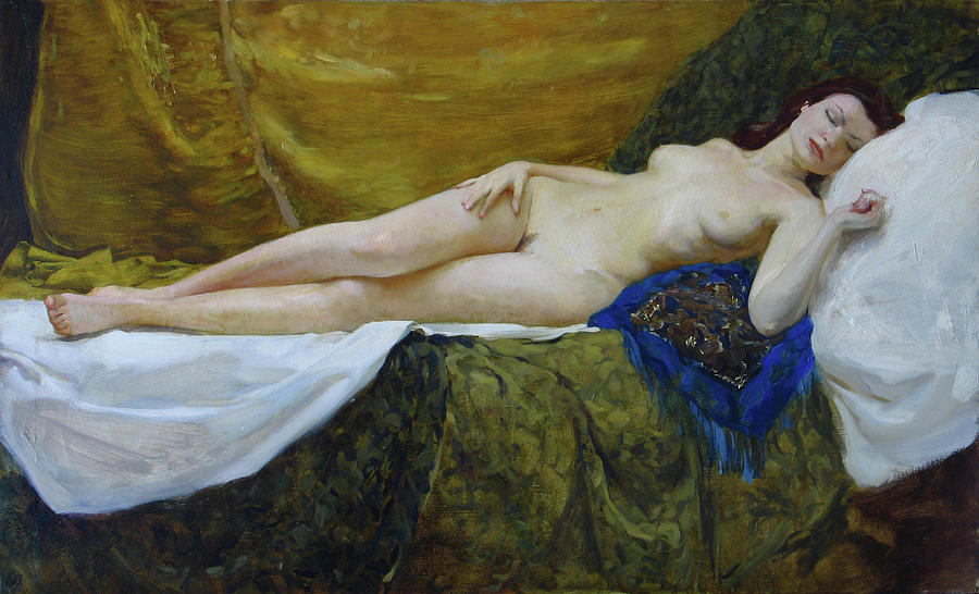 Nude Painting - Nude On Gold Background by Korobkin Anatoly
