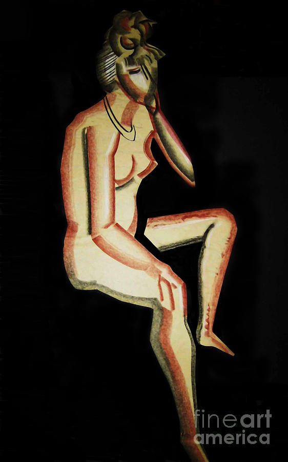 Nude- One Of Three Drawing by Reb Frost