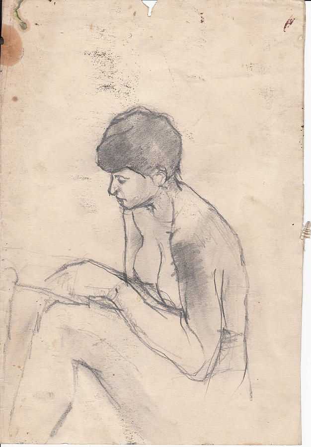 Nude Drawing - Nude Reading by Brian Francis Smith