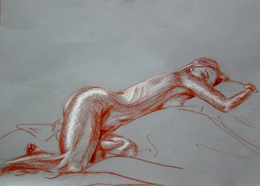 Female Drawing - Nude Reclining by Michelle Meyer