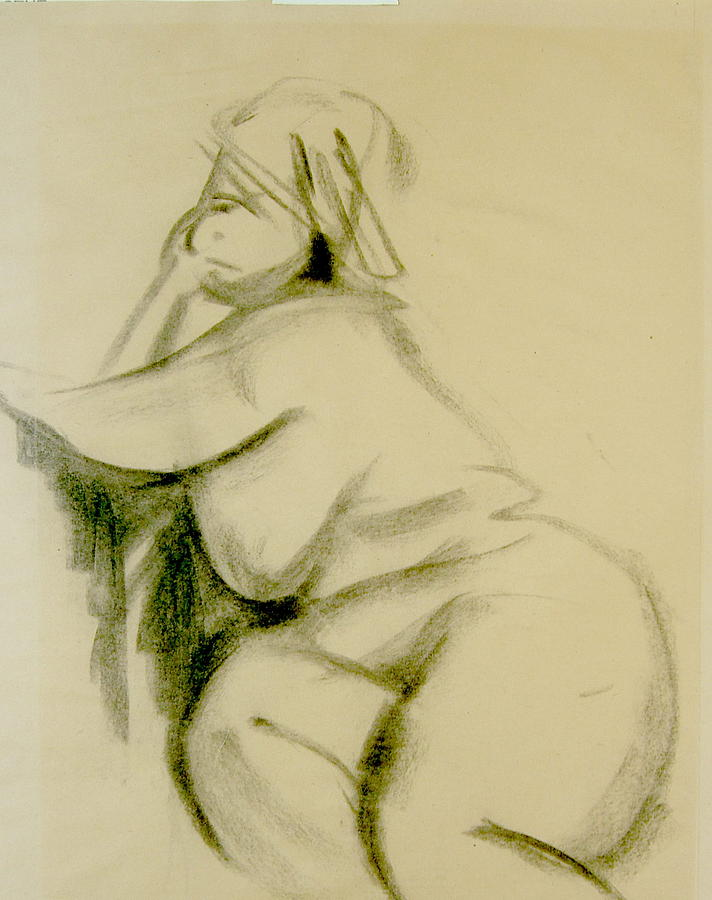 Charcoal Sketch Print - Nude Study by Howard Stroman