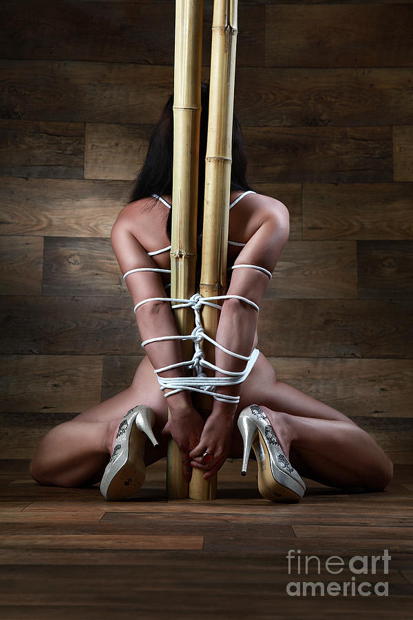 Bdsm Photograph - Nude, Tied To A Bamboo Tube - Fine Art Of Bondage by Rod Meier