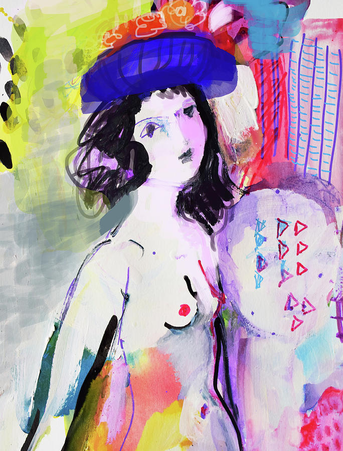 Painting Painting - Nude With Flower Hat by Amara Dacer