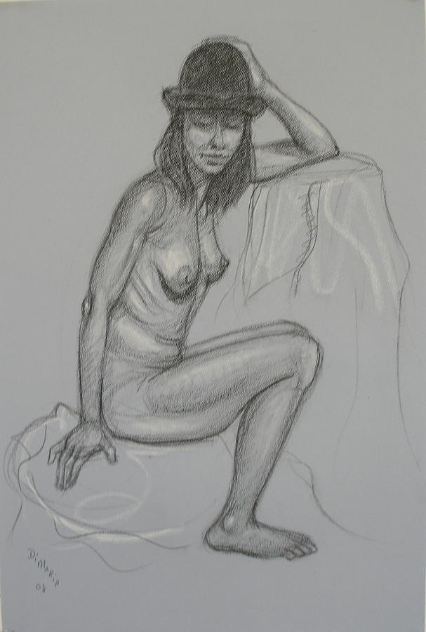 Realism Drawing - Nude With Hat 1 by Donelli  DiMaria