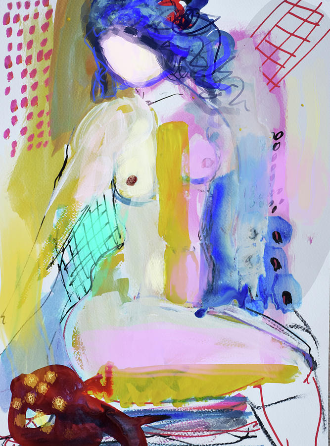 Painting Painting - Nude With Yellow Stripe by Amara Dacer
