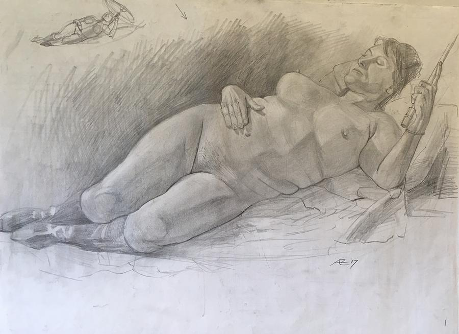 Nude Woman Resting Drawing by Alejandro Lopez-Tasso
