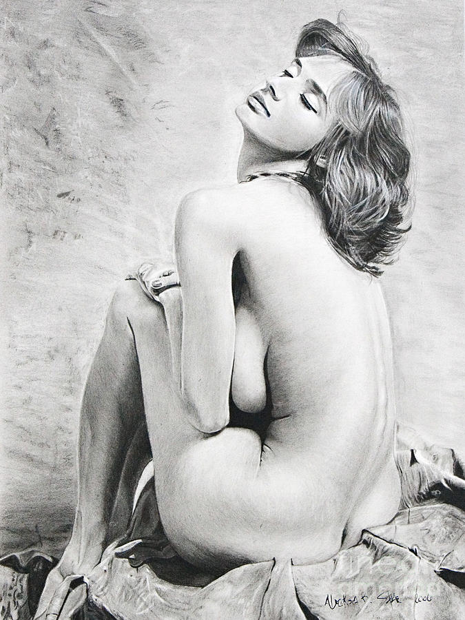 Charcoal Painting - Nude2 by Raymond Potts