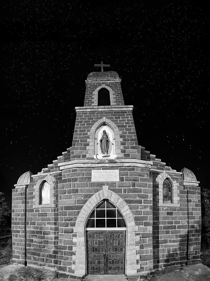 Nuestra Photograph - Nuestra Senora De Refugio, Illuminated By The Moon And Yard Lig by Mark Goebel