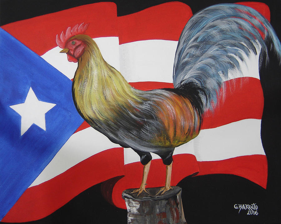 Puerto Rican Flag Painting - Nuestro Orgullo  Meaning Our Pride by Gloria E Barreto-Rodriguez