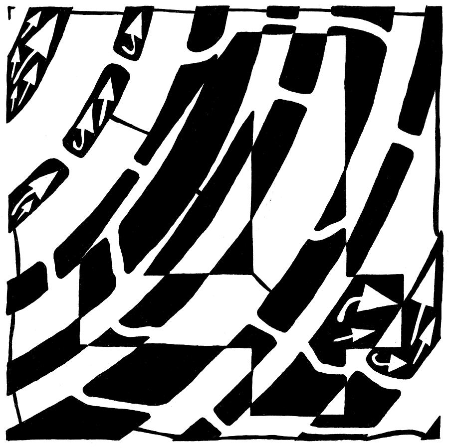Number 4 Drawing - Number Four Maze by Yonatan Frimer Maze Artist