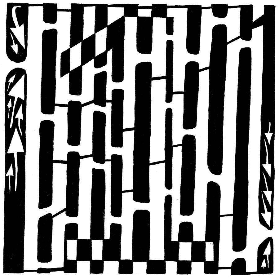 Number One Drawing - Number One Maze by Yonatan Frimer Maze Artist