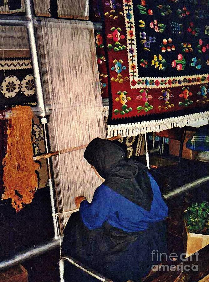 Monastery Photograph - Nun Knotting Carpet by Sarah Loft