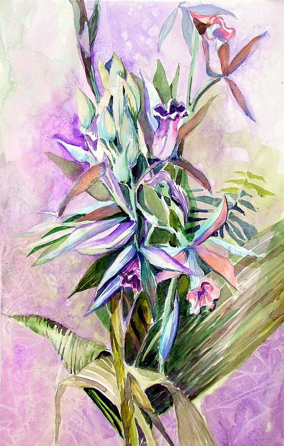 Orchid Painting - Nuns Hood by Mindy Newman