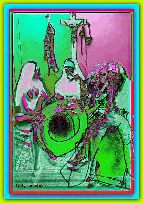 Nuns On A Break Diggin Jazz Digital Art by Tony Adamo
