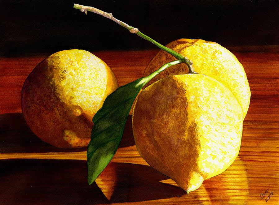 Lemon Painting - Nurse Beckys Lemons by Catherine G McElroy