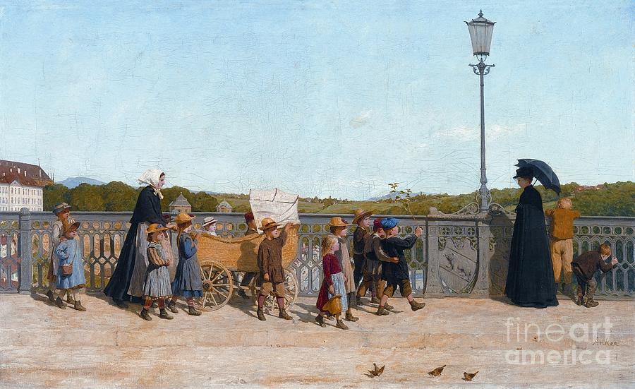 Albert Anker Painting - Nursery School Children On The Kirchenfeld Bridge by Celestial Images
