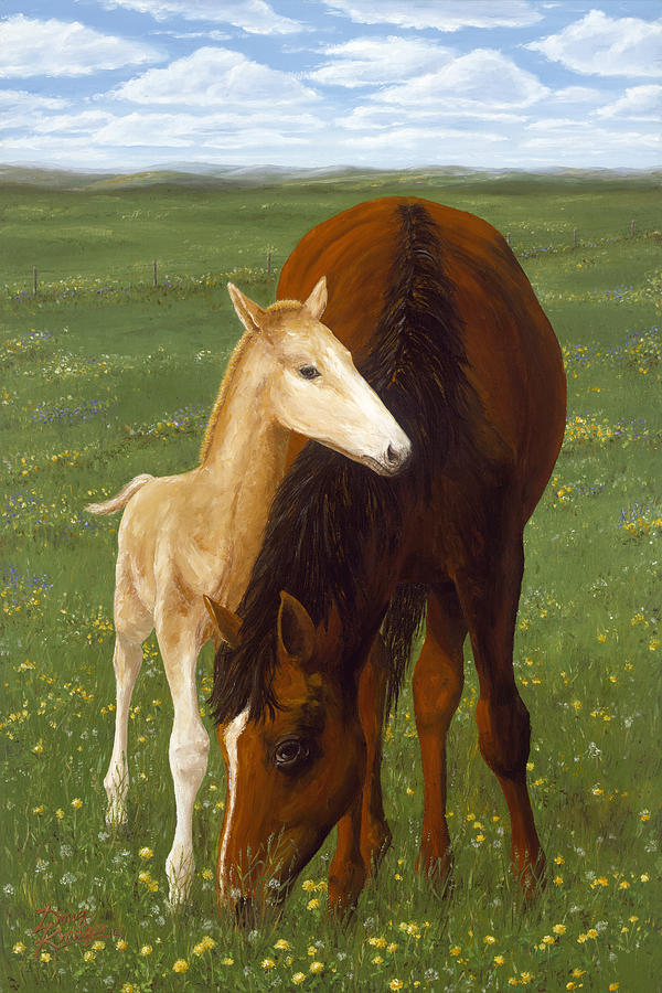 Horses Painting - Nurturing Nature by Doug Kreuger