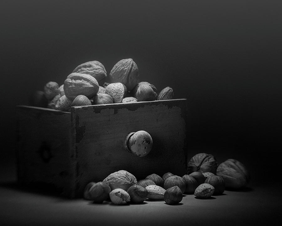 Nut Photograph - Nuts In Black And White by Tom Mc Nemar