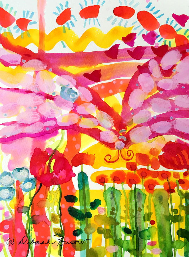 Abstract Garden Painting - Nutterbutterfly by Deborah Burow