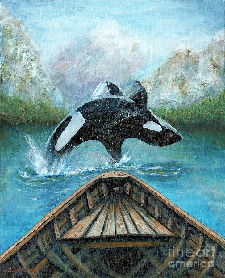Nw Painting - Nw Flippin Out Orca by Sue M Marshall