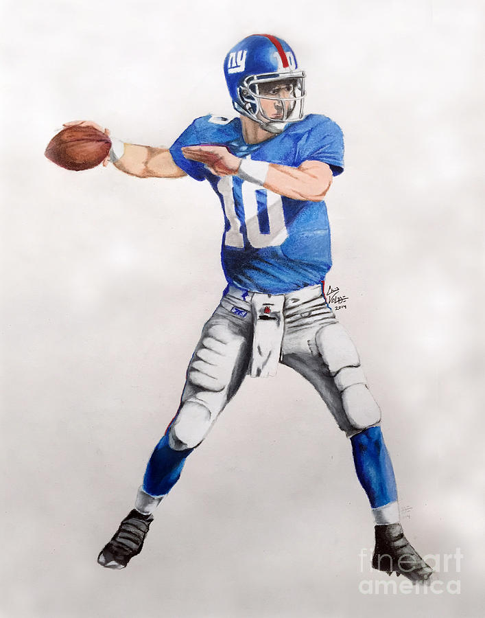 fa88e0ca7 Football Drawing - Ny Giants - Eli Manning by Chris Volpe