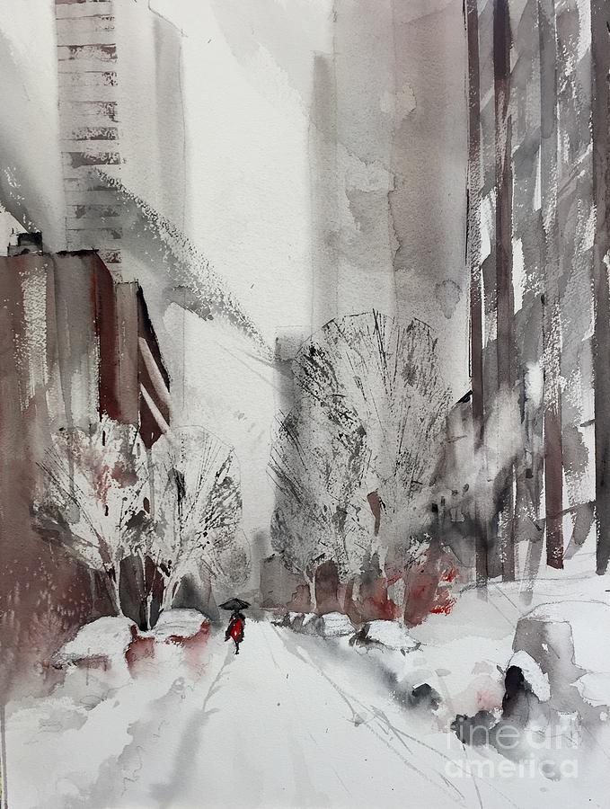 Watercolor Painting - Ny In Snow by John Byram
