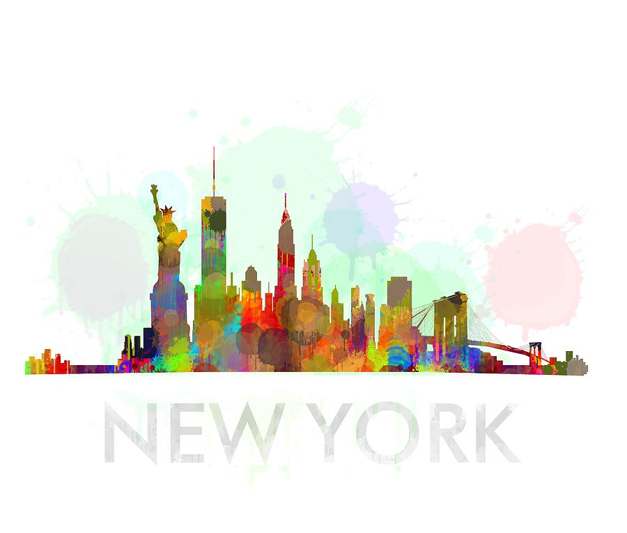 Watercolor New York: Ny-new York Skyline Hq Watercolor Digital Art By HQ Photo