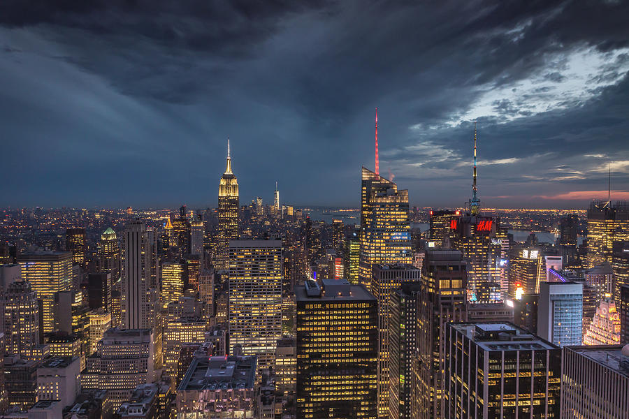 Ny Skyline Night Photograph by Framing Places