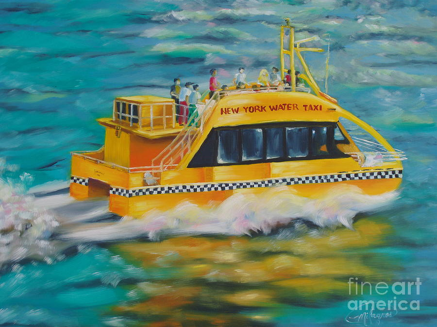 Waterscapes Painting - Ny Water Taxi by Milagros Palmieri