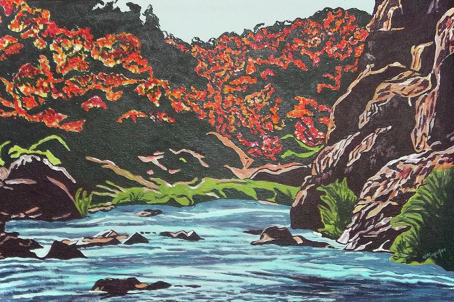 Nyangombe River Painting by Valentine Magutsa