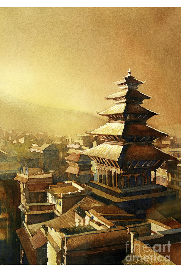 Nyatapola Temple Nepal Painting By Ryan Fox