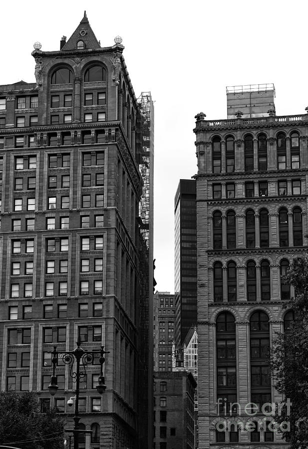Downtown Buildings Photograph - Nyc Downtown Buildings Mono by John Rizzuto