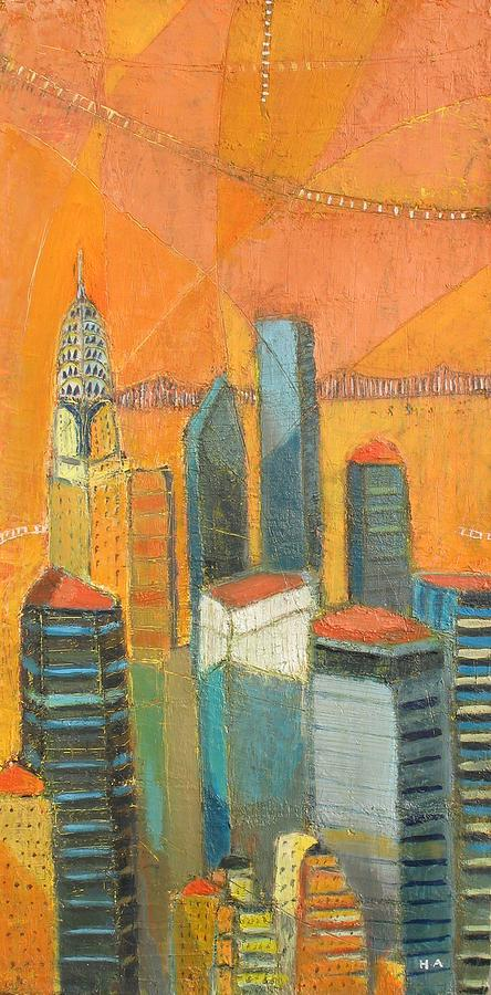 Nyc In Orange Painting by Habib Ayat