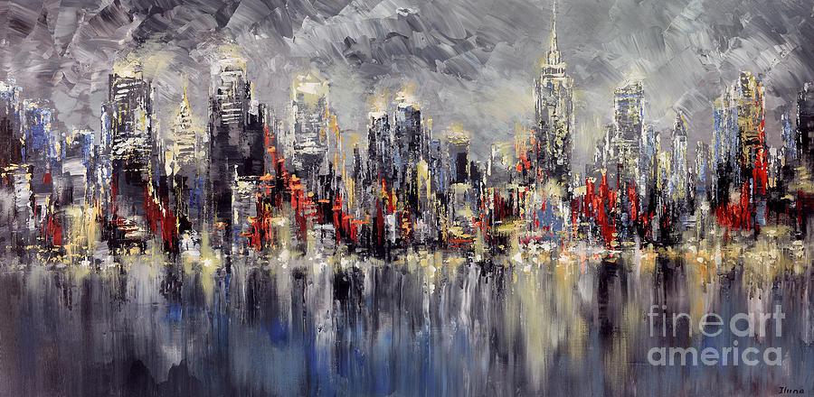 Nyc Lights Painting by Tatiana Iliina